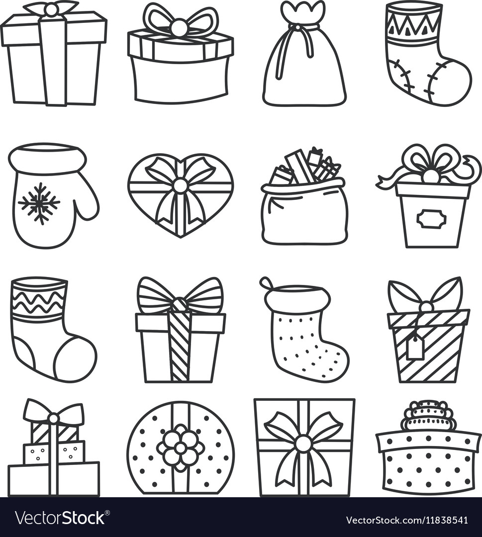 Gifts boxes bags socks lineart cartoon doodle