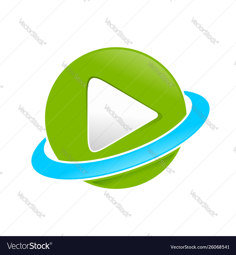 Global multimedia planet symbol design