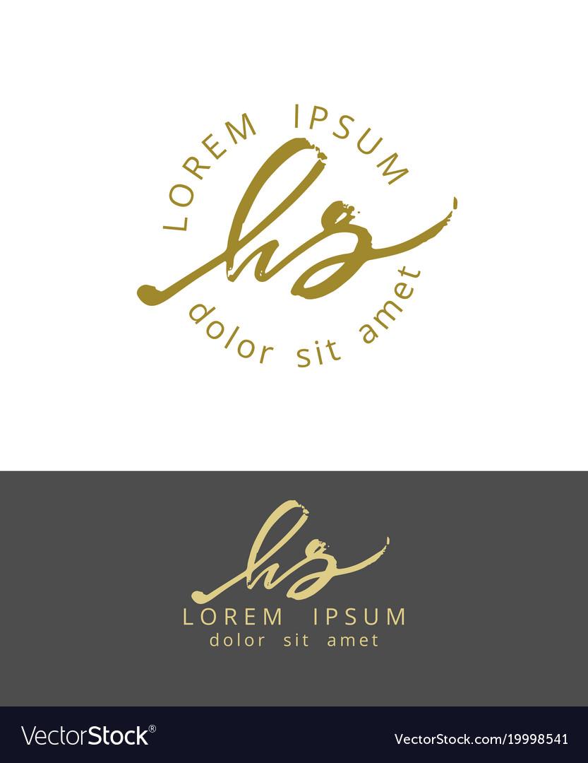H s handdrawn brush monogram calligraphy logo
