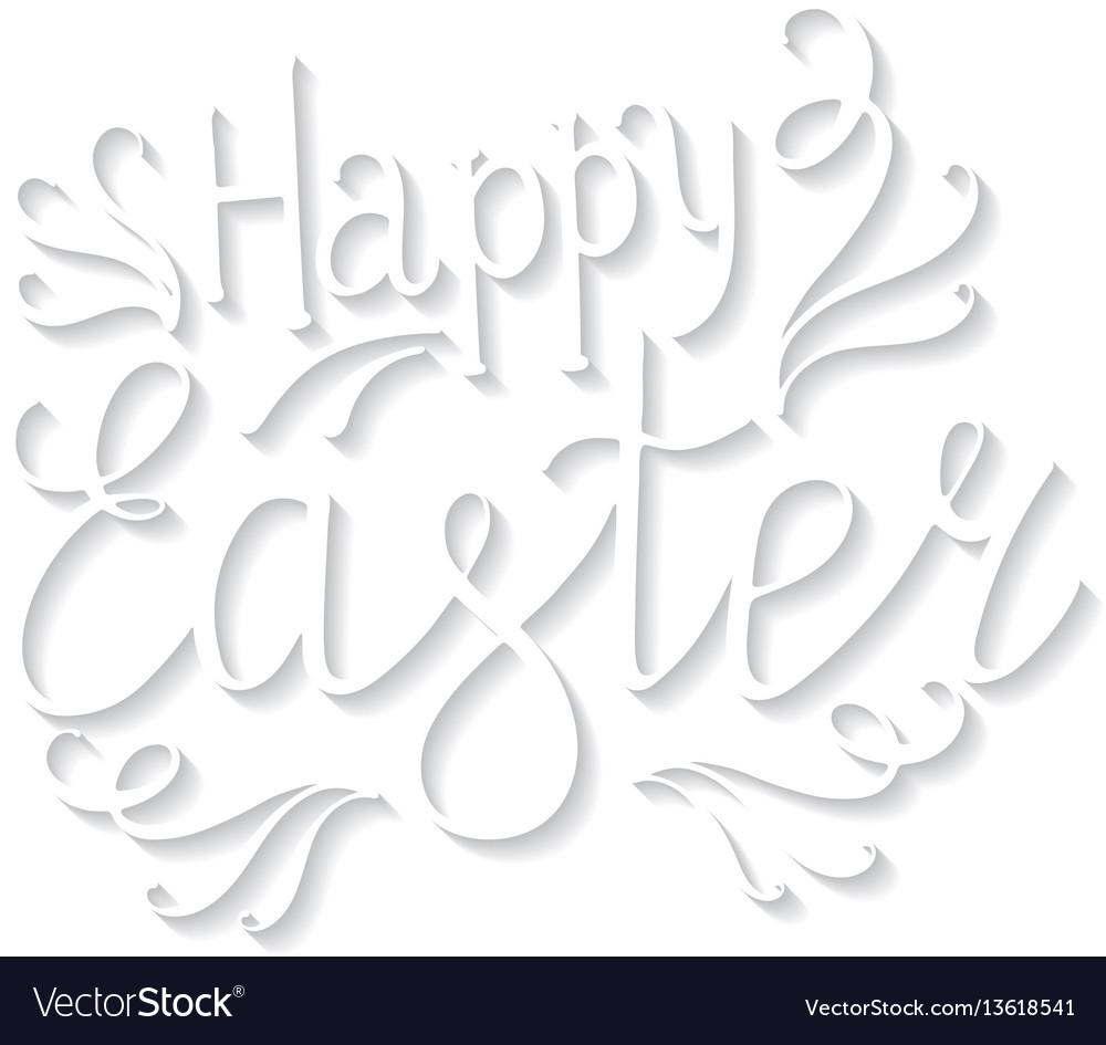 Happy easter lettering egg vector image