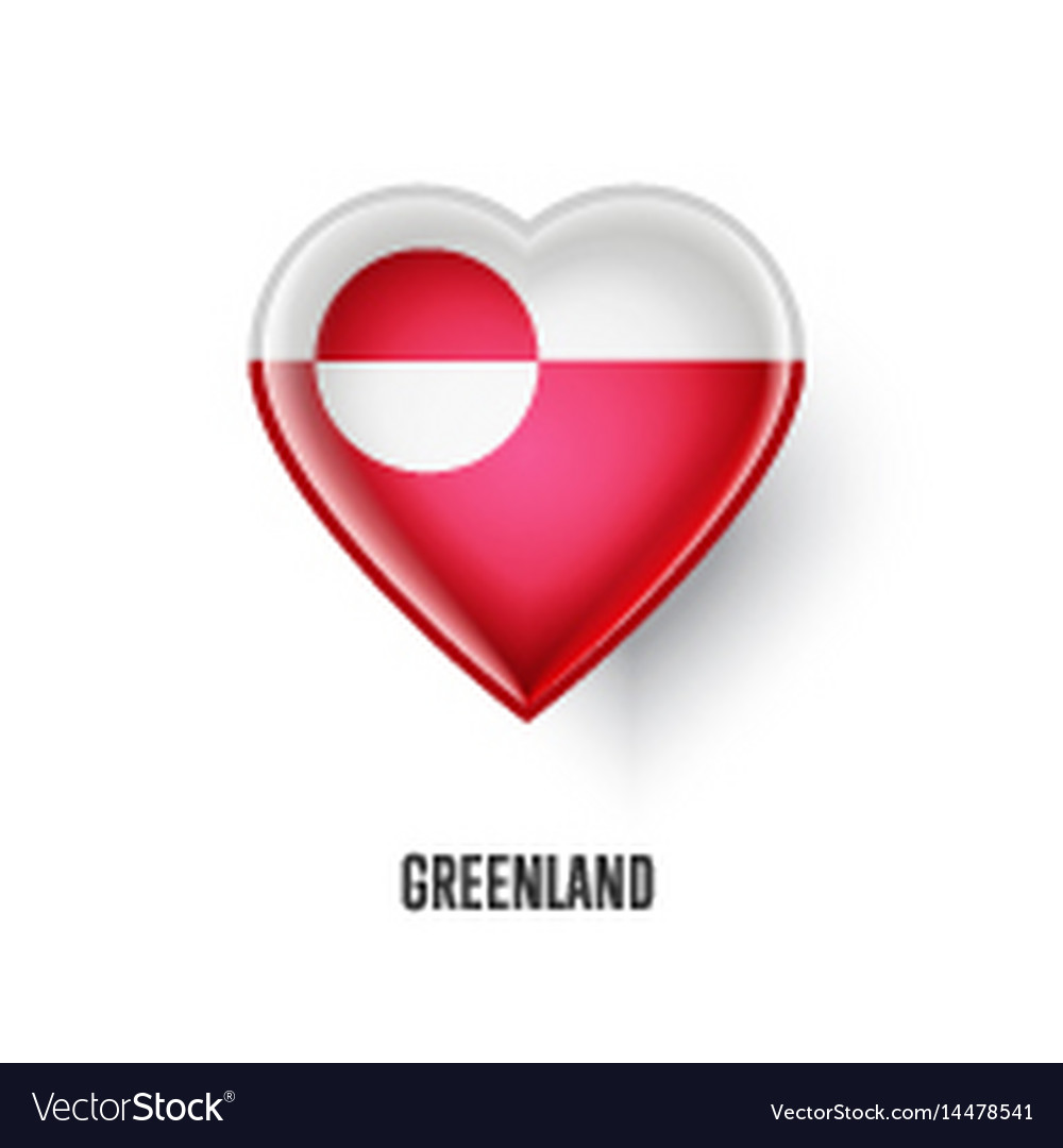 Patriotic heart symbol with greenland flag