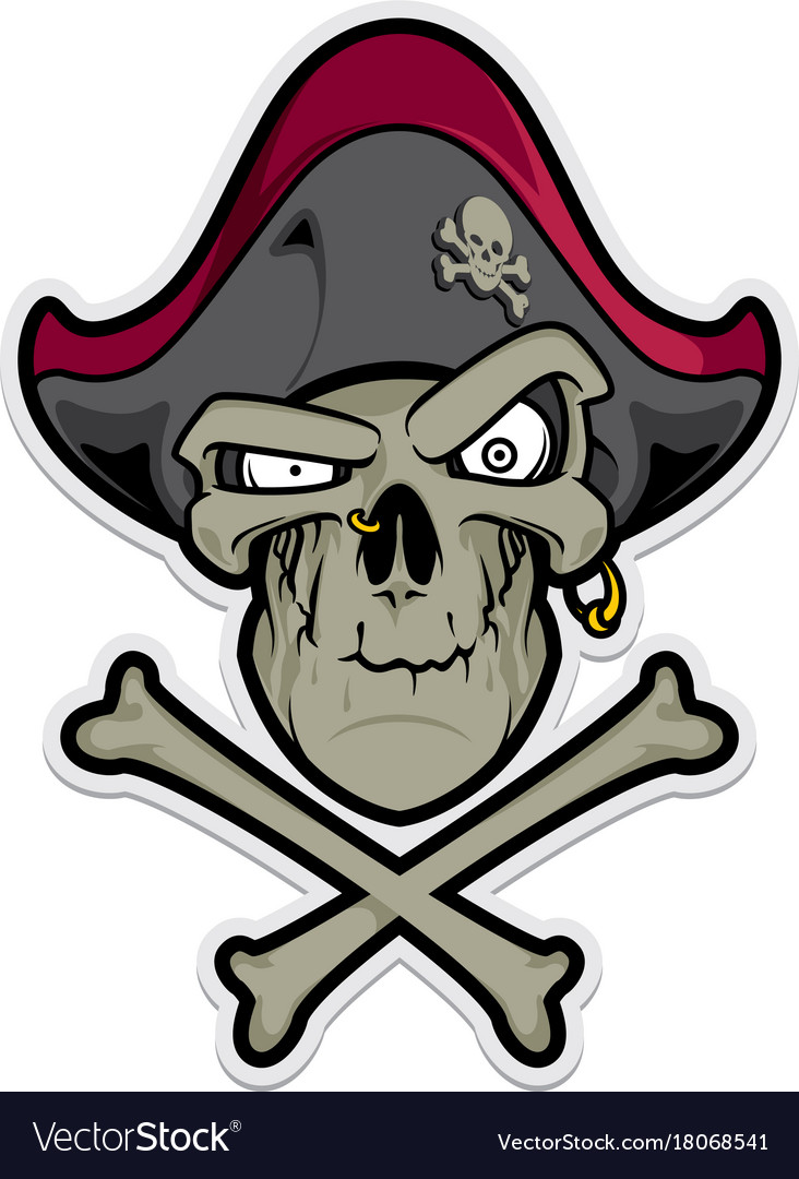 Pirate skull with hat and cross bones