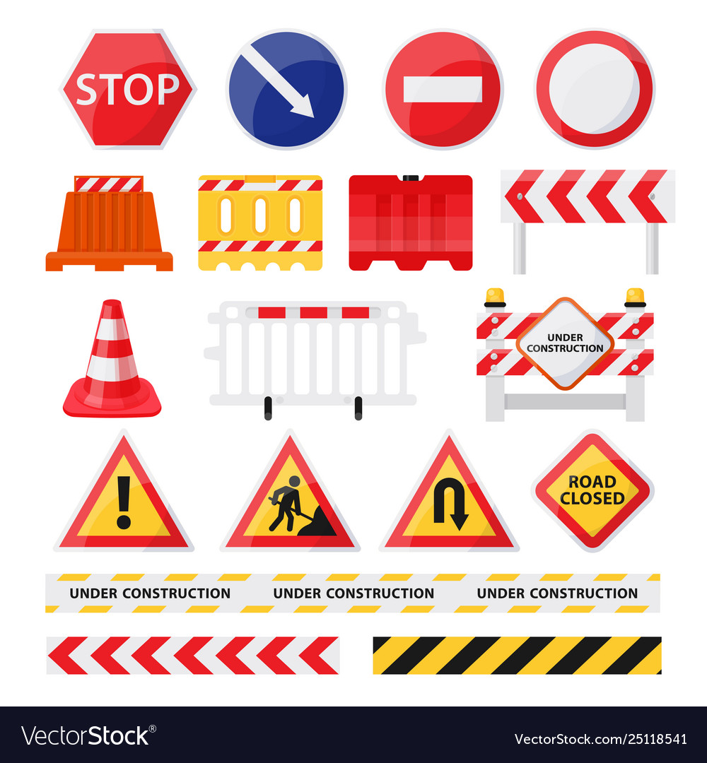 Road construction signs set city build and repair