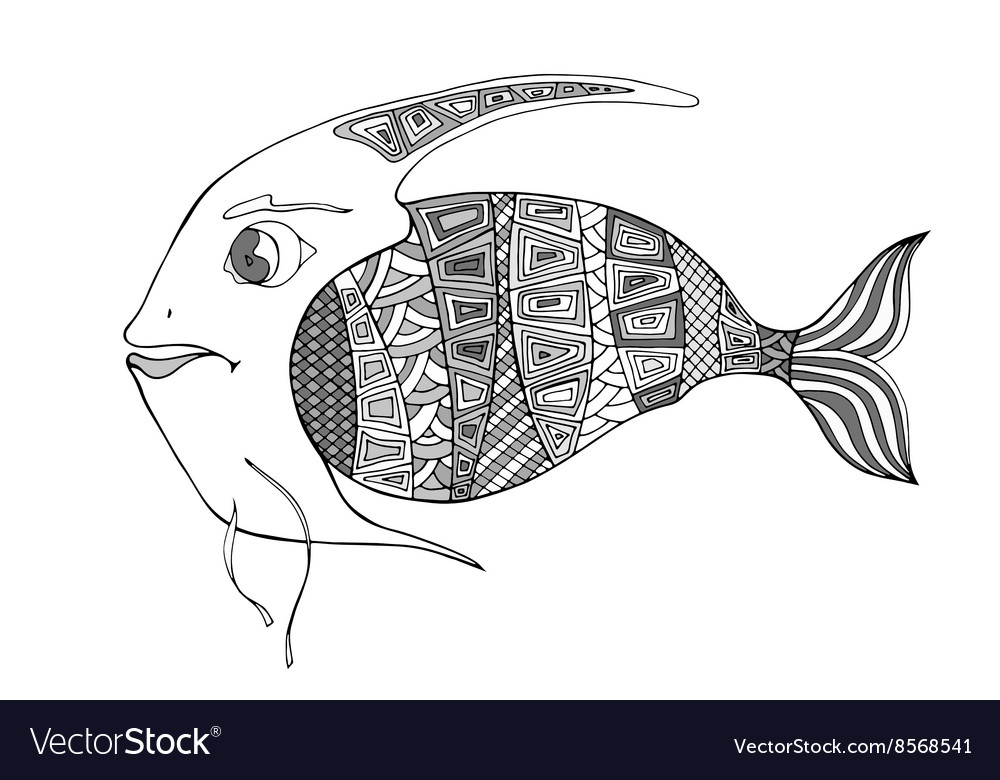 Tangle Patterns Stylized Fish Royalty Free Vector Image Simple Fish Patterns