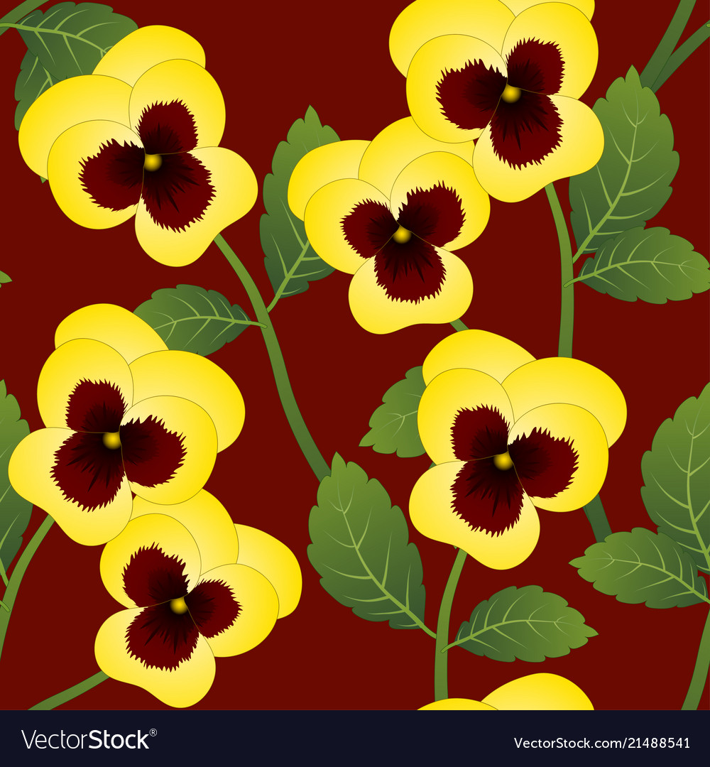 Yellow pansy flower on red background royalty free vector yellow pansy flower on red background vector image mightylinksfo