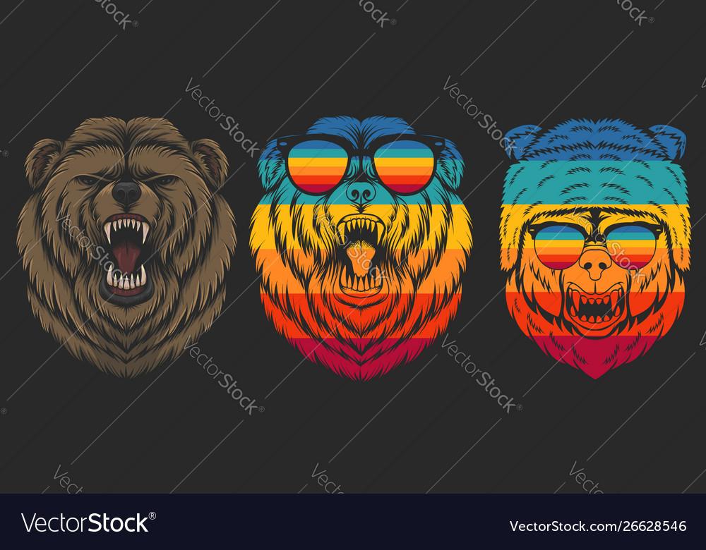 Angry bear retro