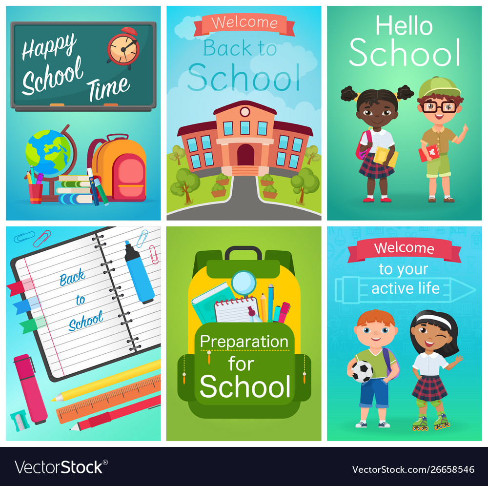 Back to school card design set pupils kids
