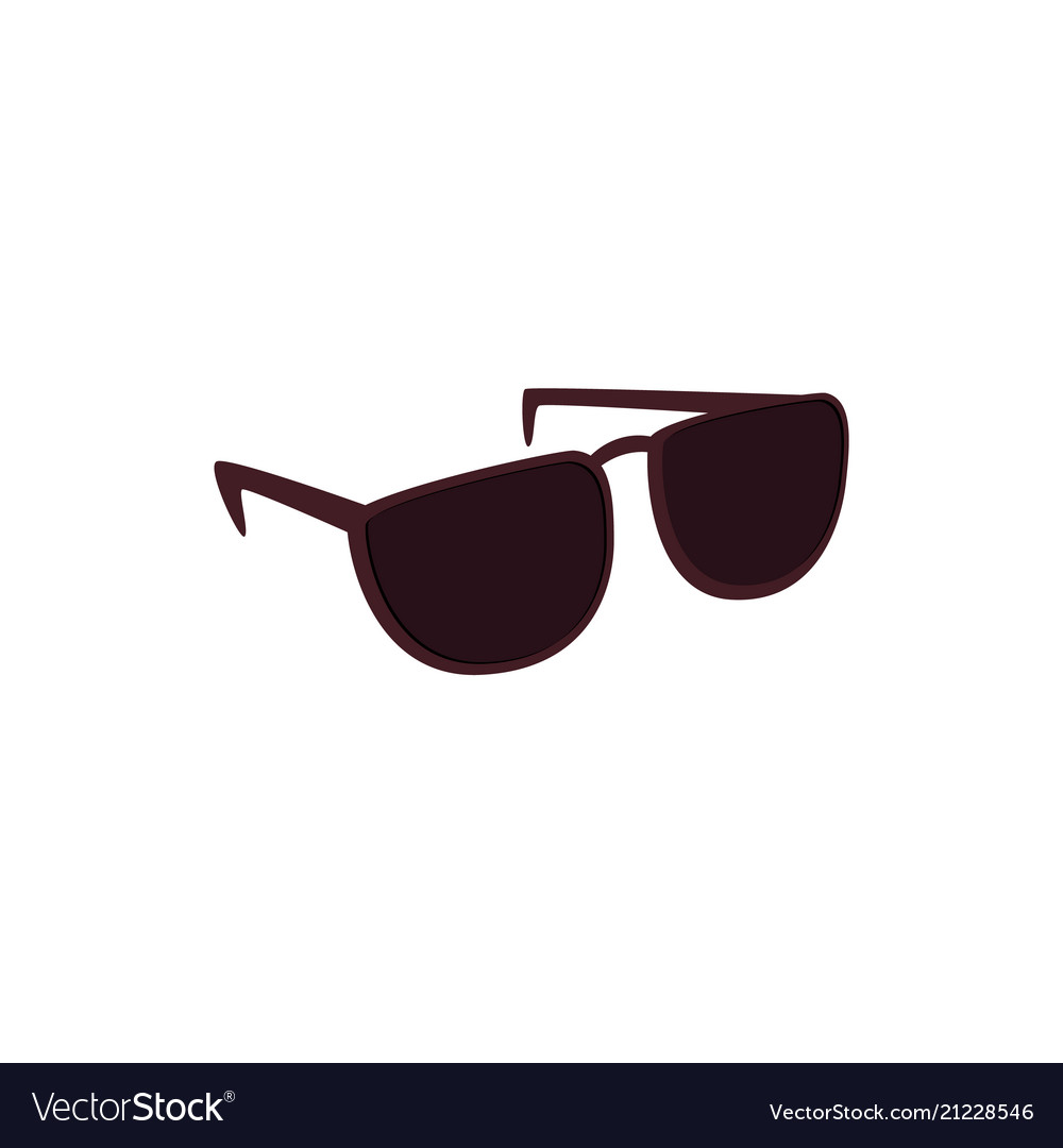 Black sunglasses with dark lens isolated on white