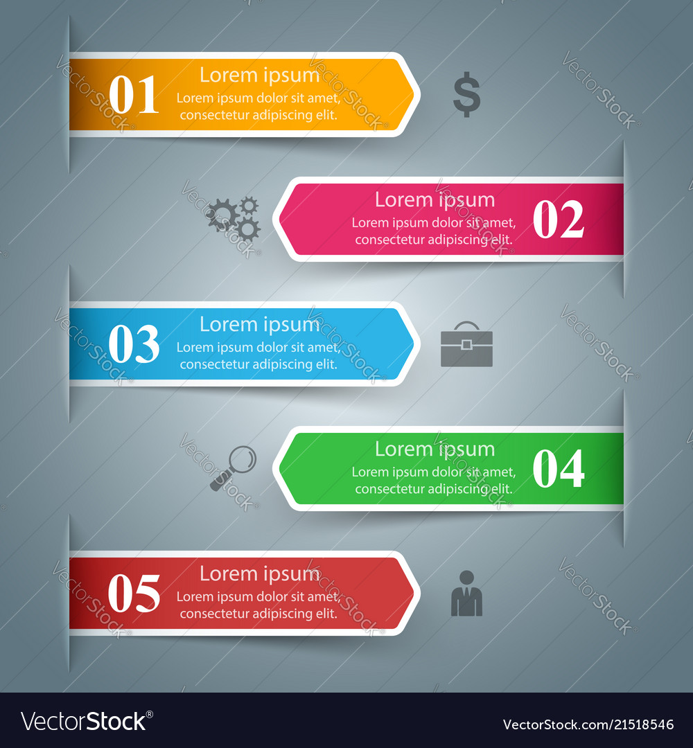 Business infographic five color items marketing