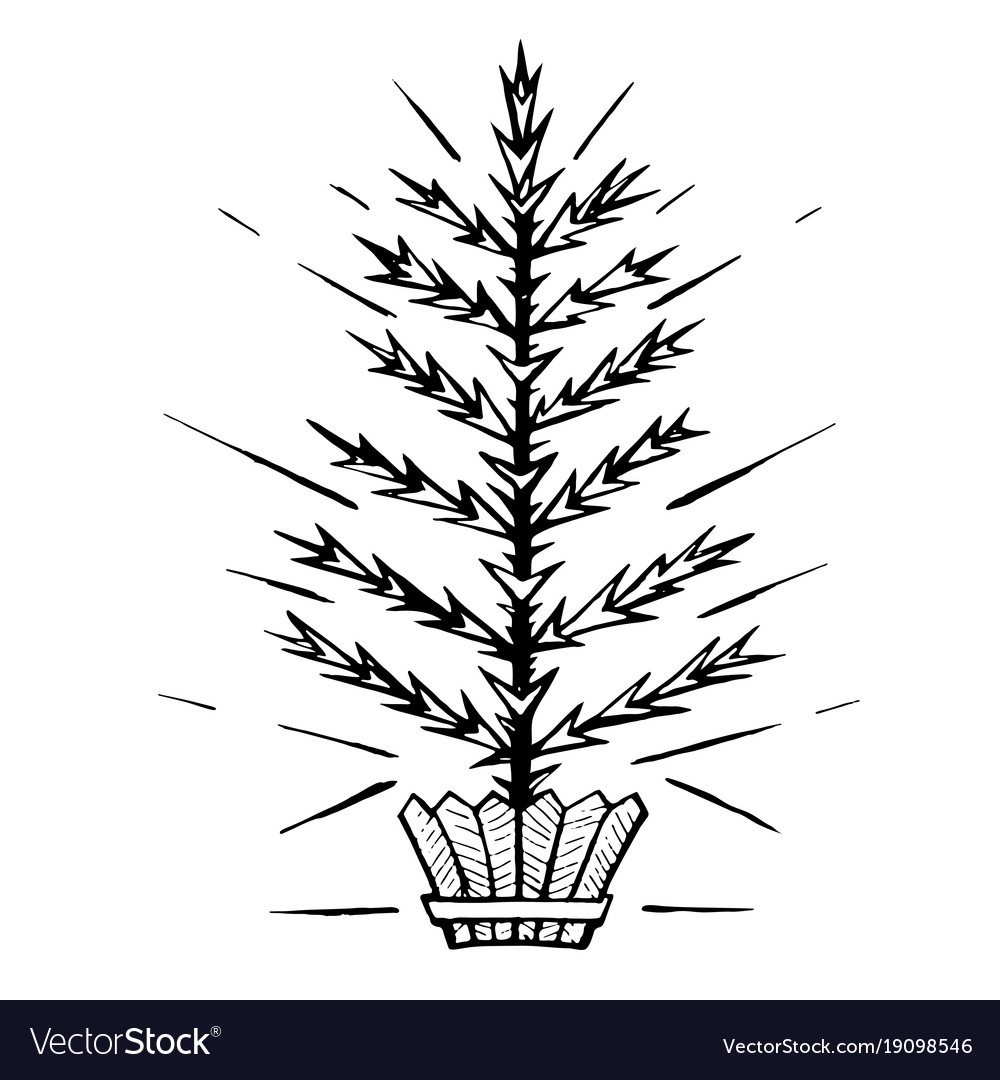 Christmas tree stylized in a pot