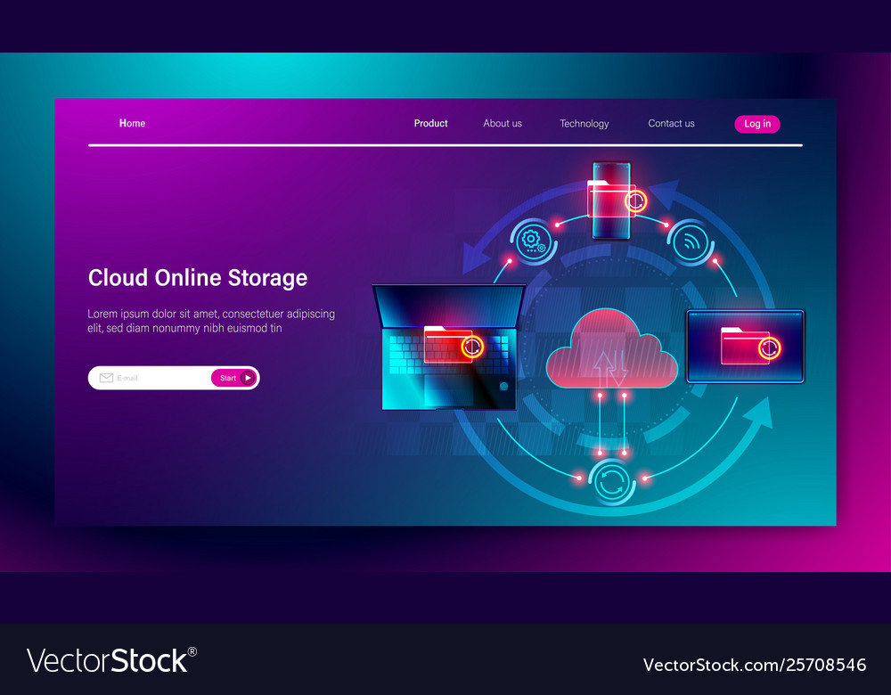 Cloud online storage service concept connection