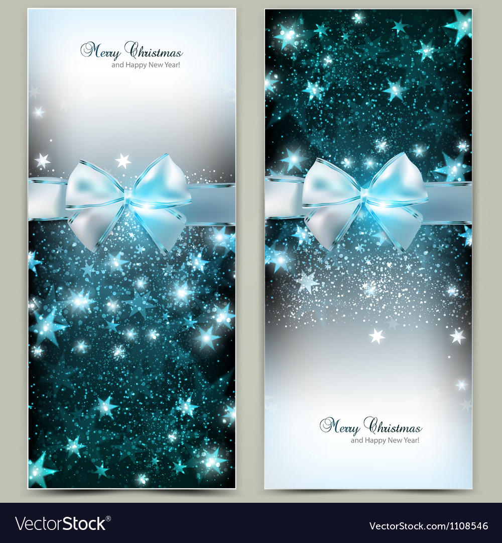elegant christmas greeting cards with blue bows vector image - Elegant Christmas Cards