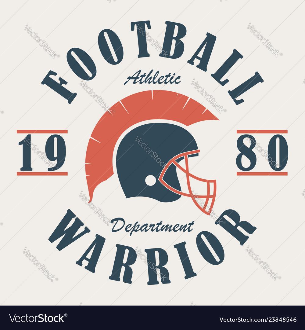 Football warrior - t-shirt graphics with helmet