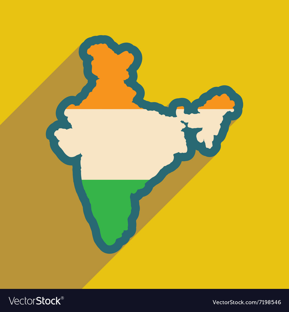 Modern flat icon with long shadow map of india vector image gumiabroncs Images