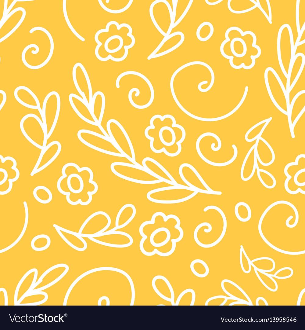Nature flower wreath seamless pattern