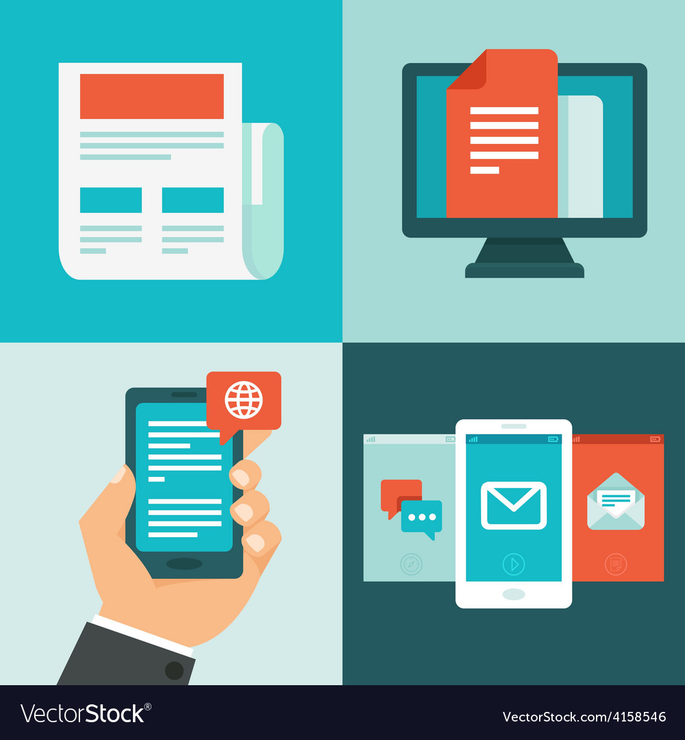 Newsletter concept in flat style vector image