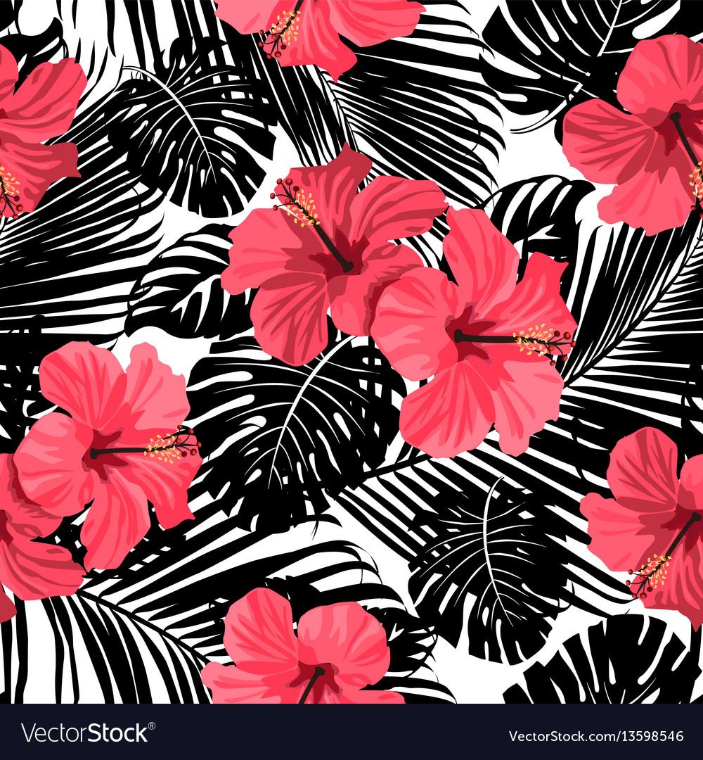 Palm pattern black vector image