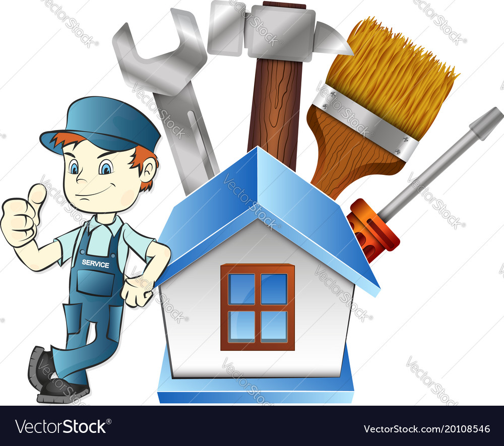 Repairman at home with a tool