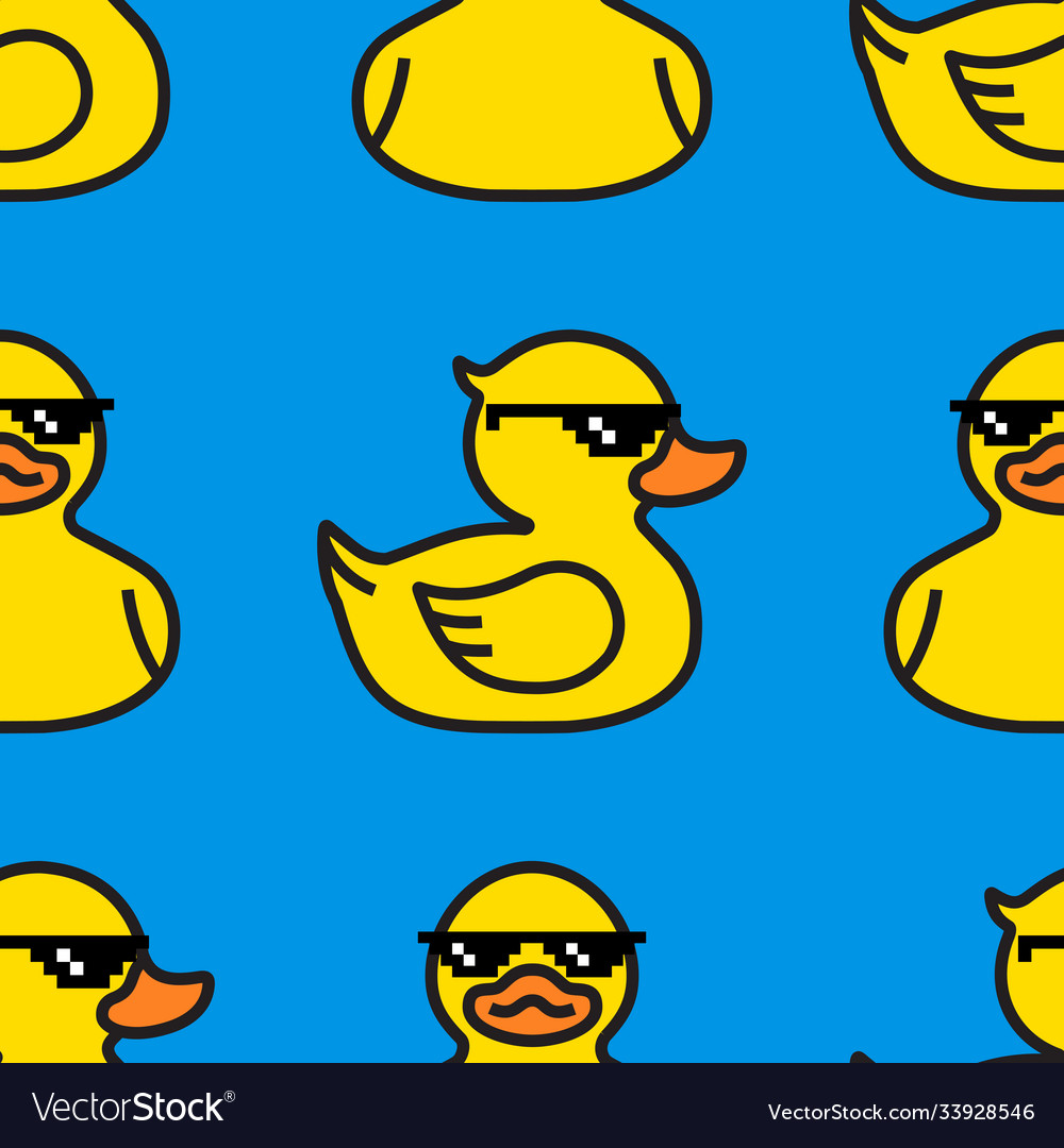 Rubber yellow duck in sunglasses seamless pattern