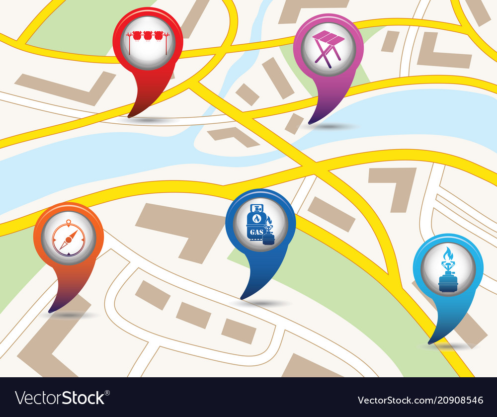Set of tourism service map pointers on map vector image on VectorStock