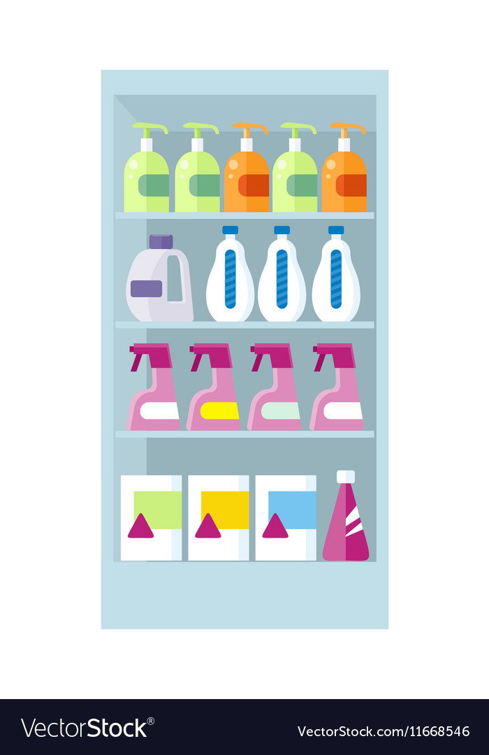 Shelves with Household Chemicals vector image