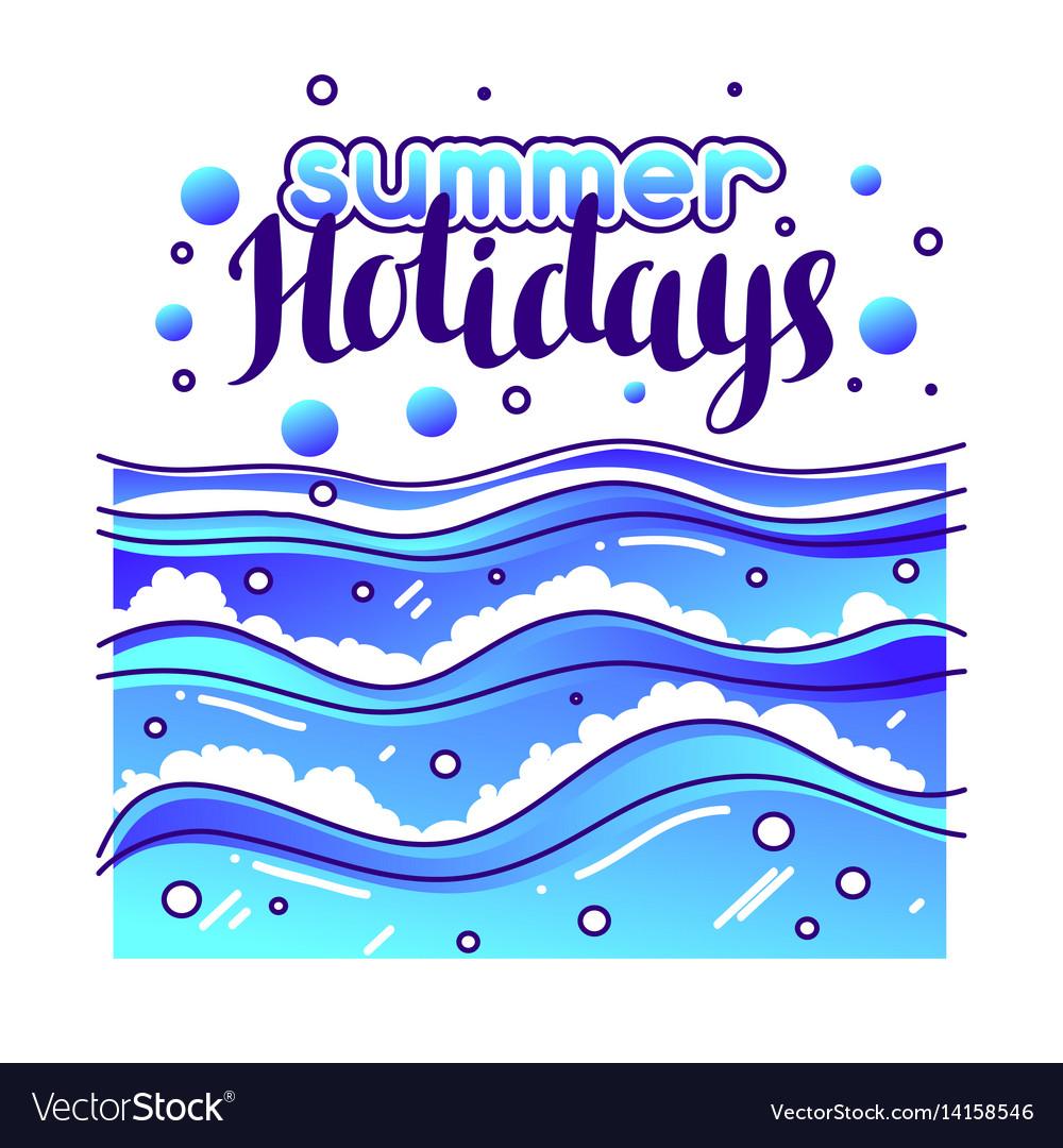 Summer holidays at seaside stylized