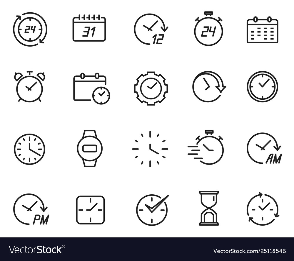Time line icon set schedule and data symbol