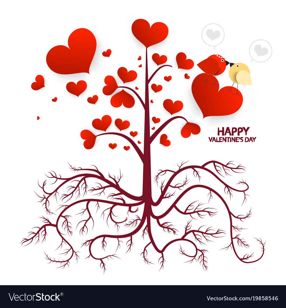 Tree with hearts isolated on white background