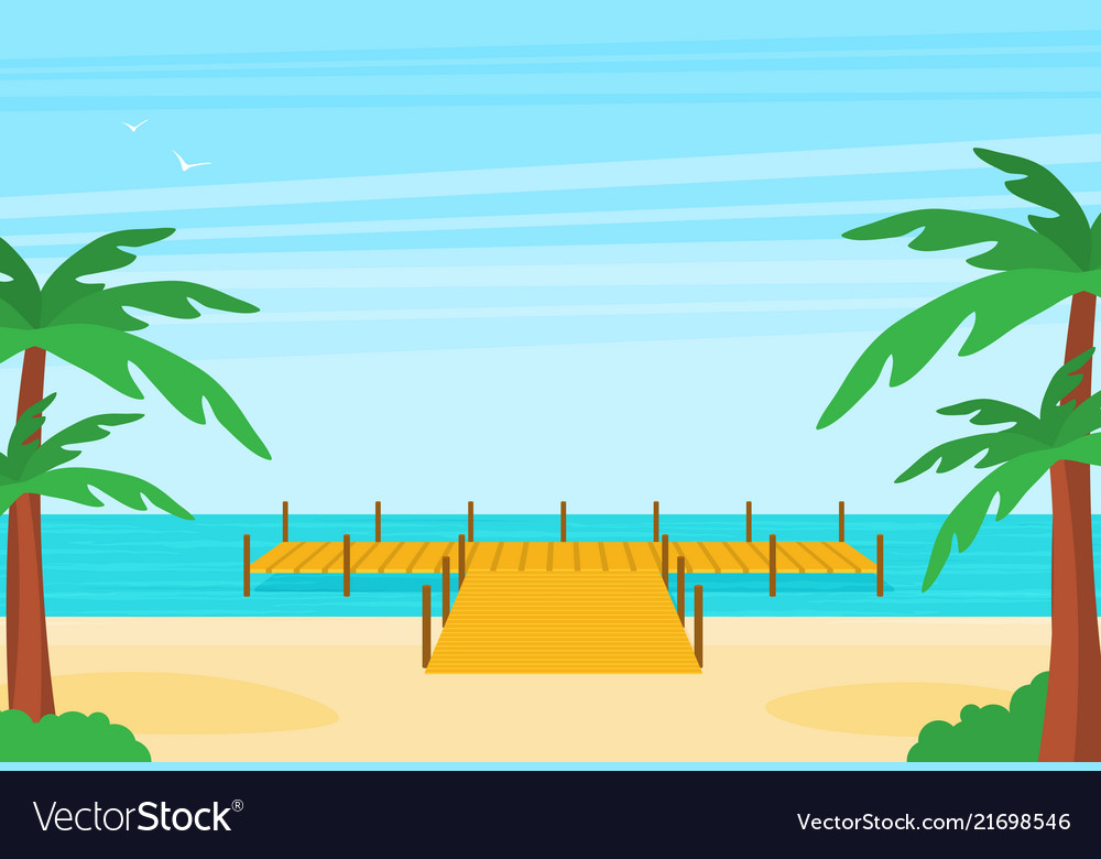 Tropical ocean landscape with wooden dock