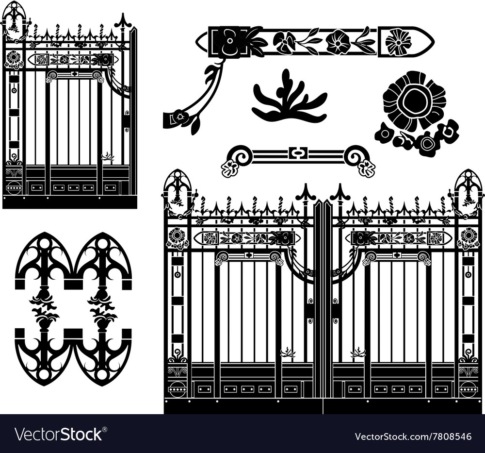 Wrought iron gate and decoration