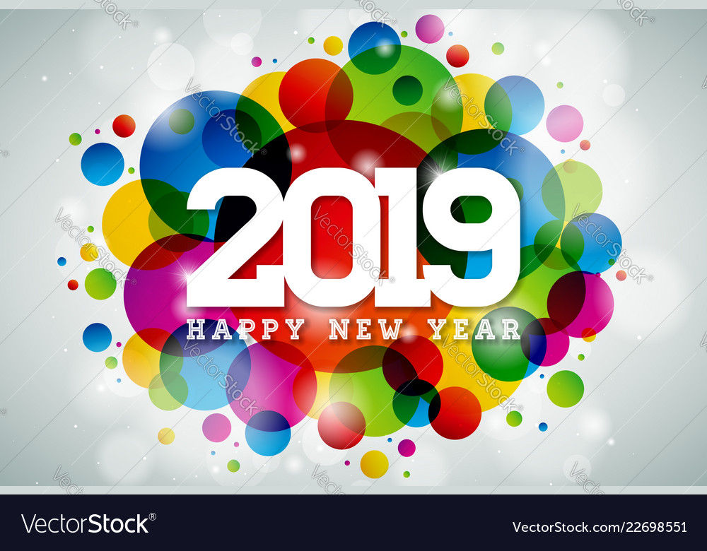 2019 happy new year with typography