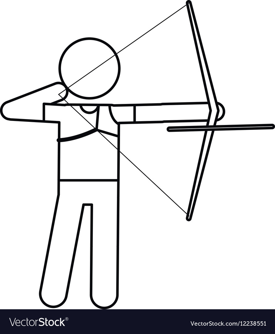Archery Player Aiming Bow Game Outline Royalty Free Vector - Game outline