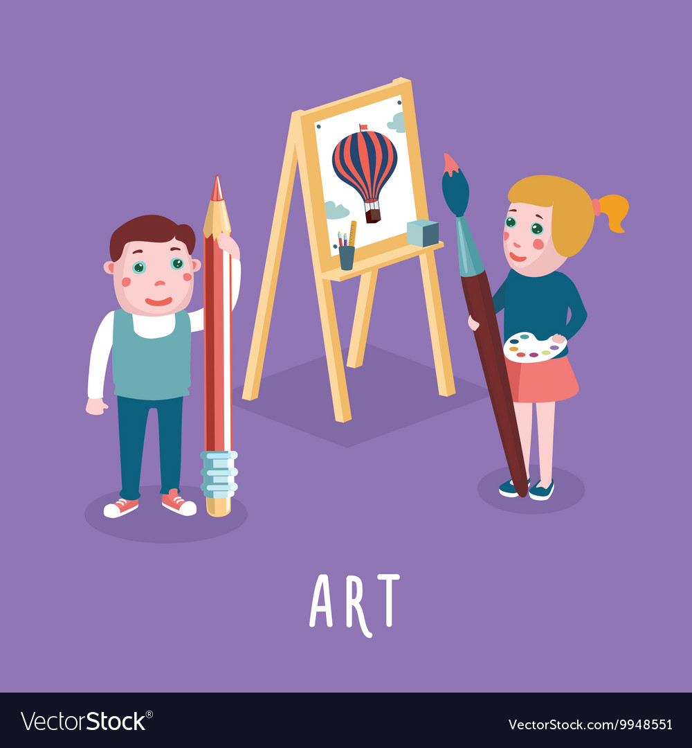 Children drawing Boy and girl studing in an art
