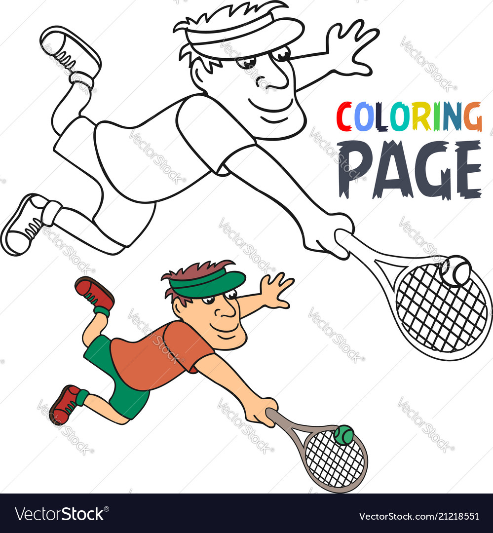 Coloring page with tennis player cartoon