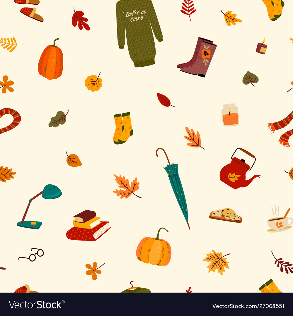 Fall seamless pattern with cute things and autumn