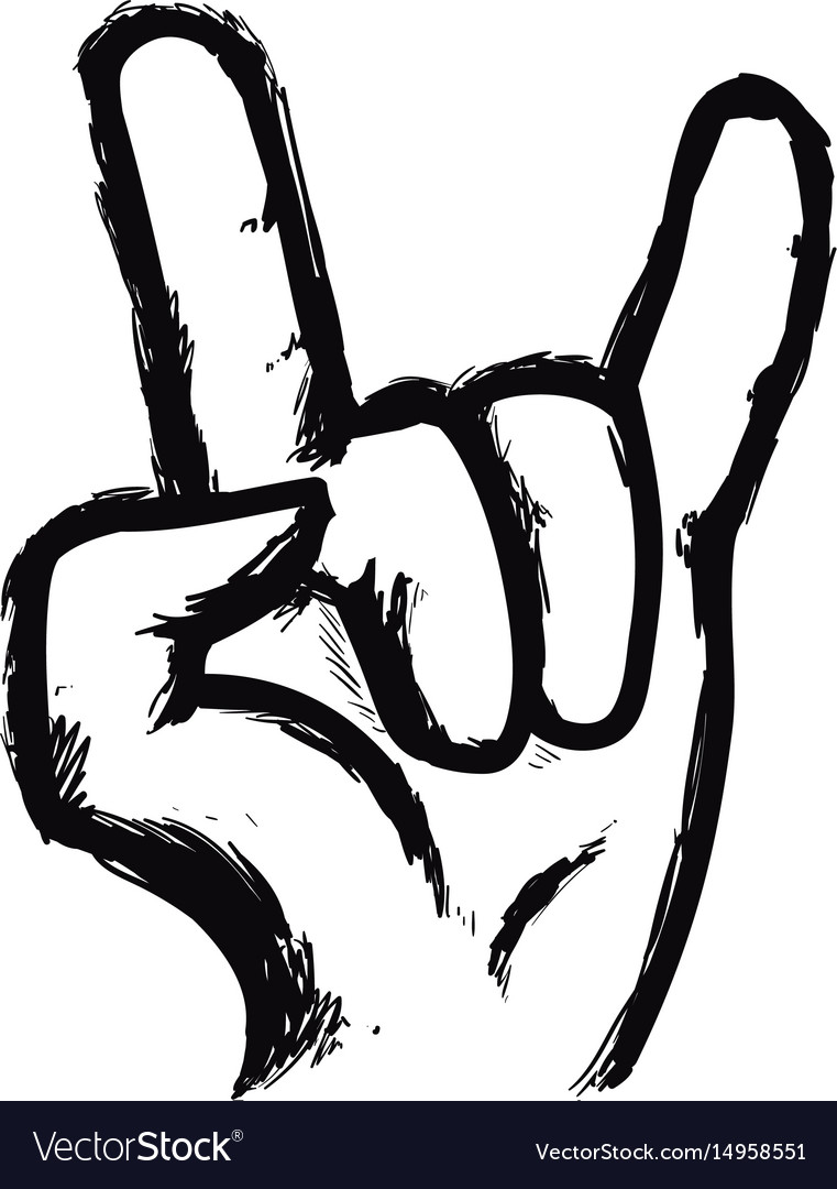 Line Hand Up With Rock Symbol Royalty Free Vector Image