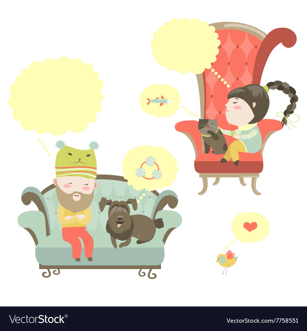 People and their pets with speech bubble vector image