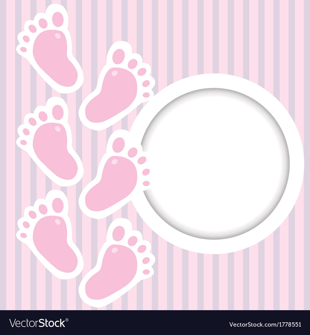 Pink frame with baby steps vector image