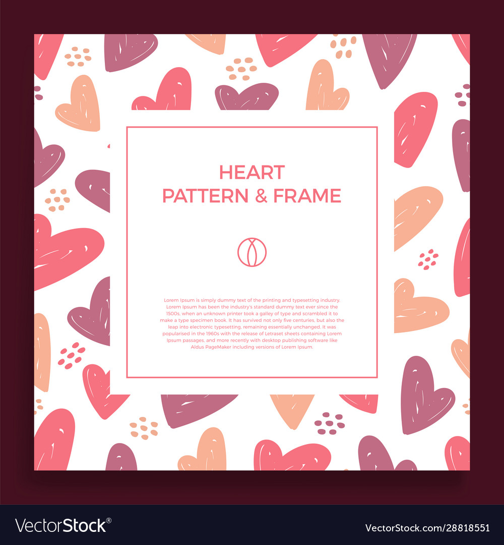 Poster banner or card frame border with love hand