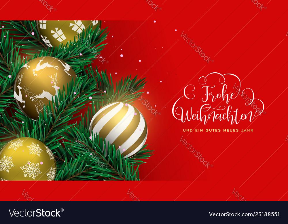 German Christmas Tree.Red Christmas Tree Bauble Banner In German
