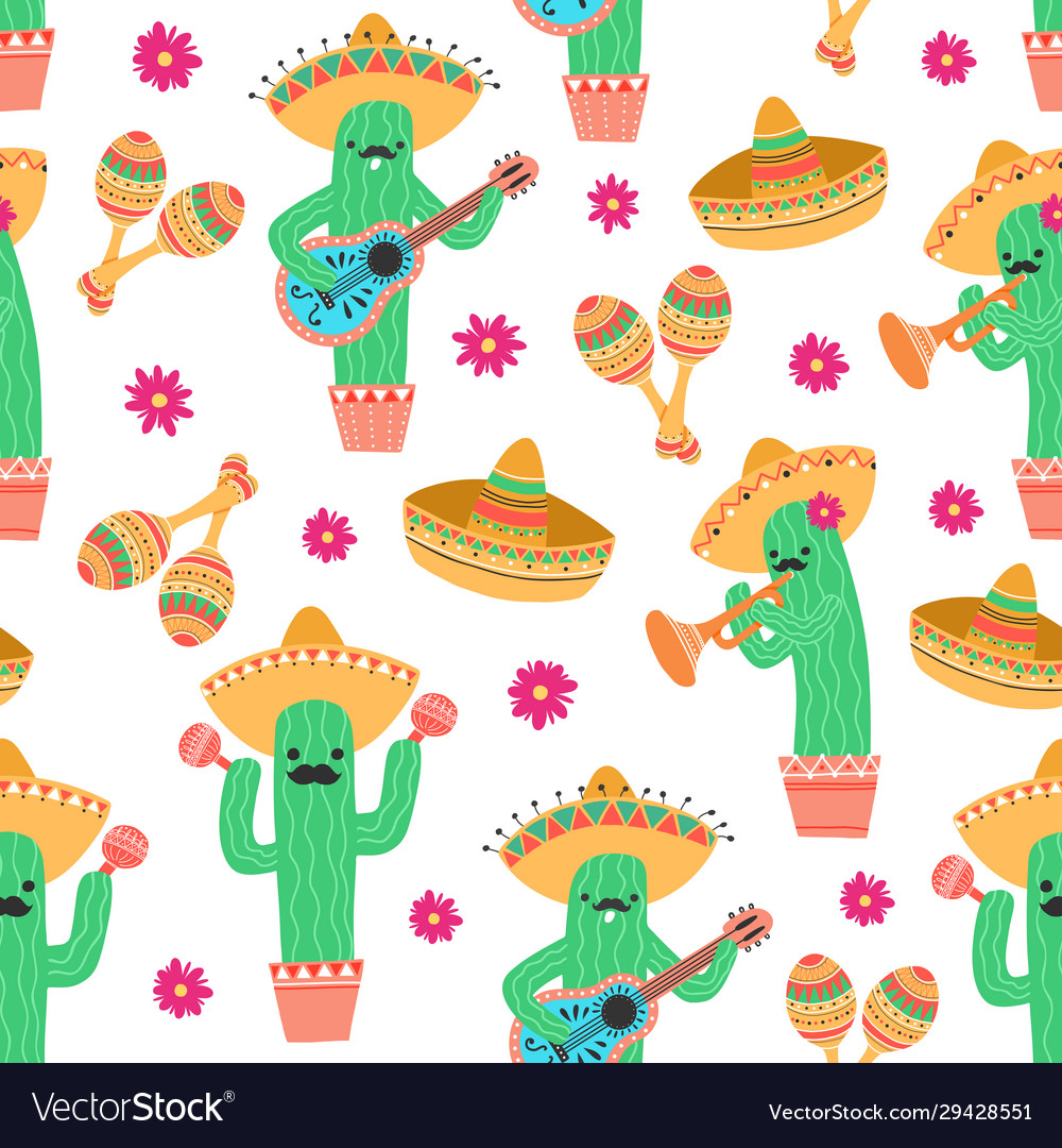 Seamless pattern with cute funny mexican cactus