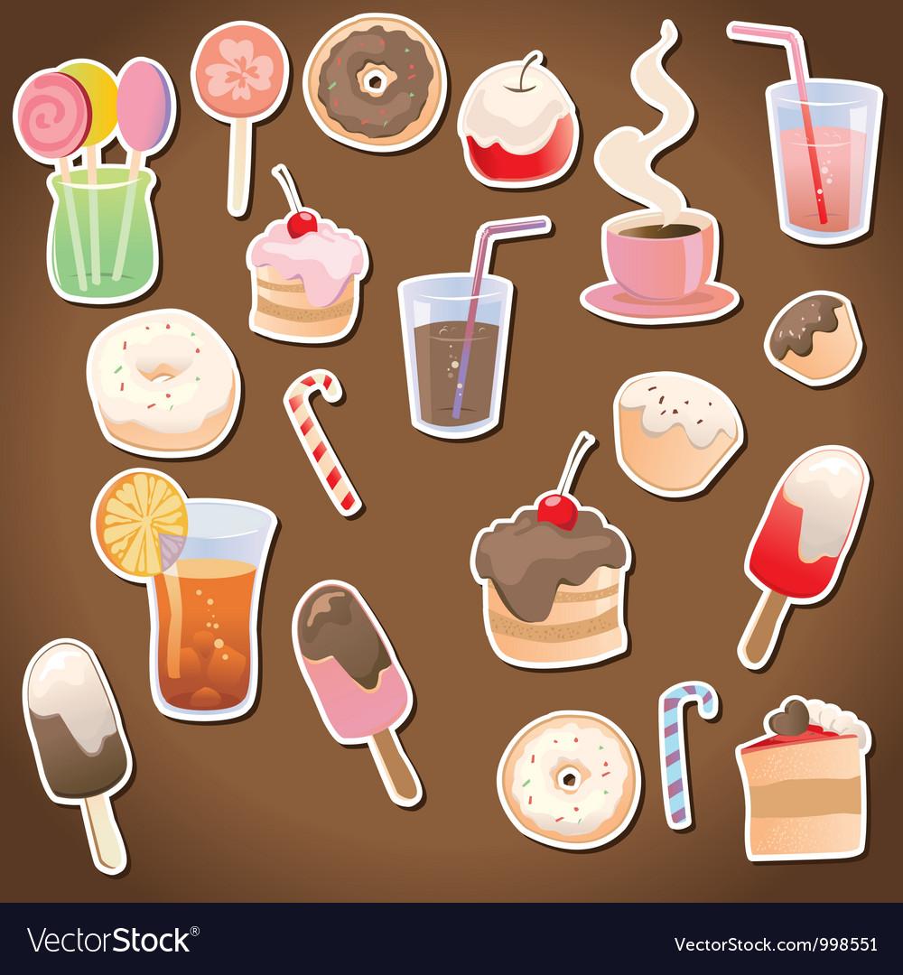 Set of dessert and drinks