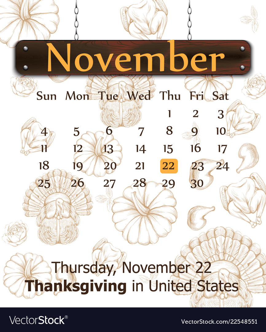 Thanksgiving day calendar turkey pumpkins