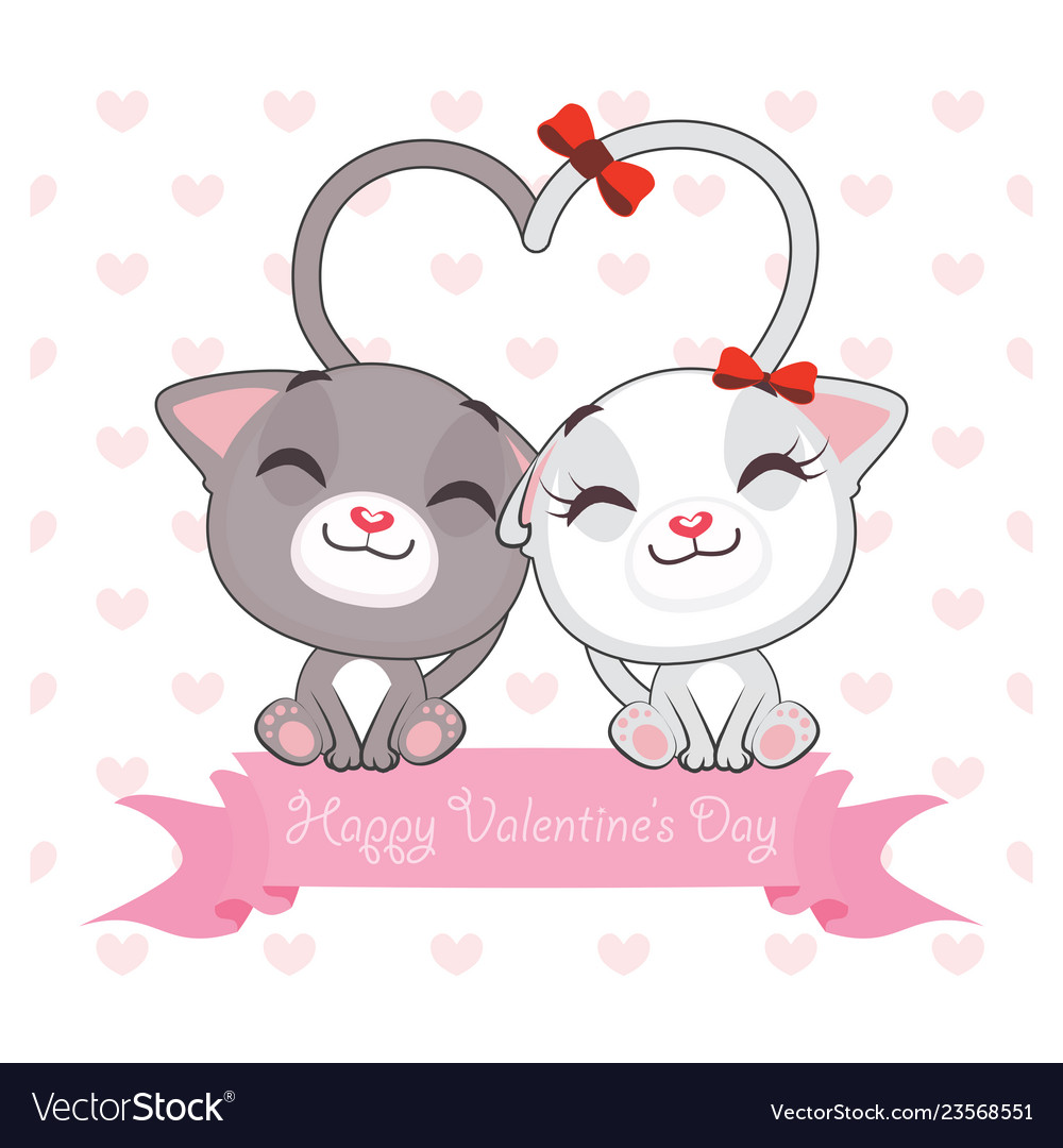 Valentines day greeting with two cats in love