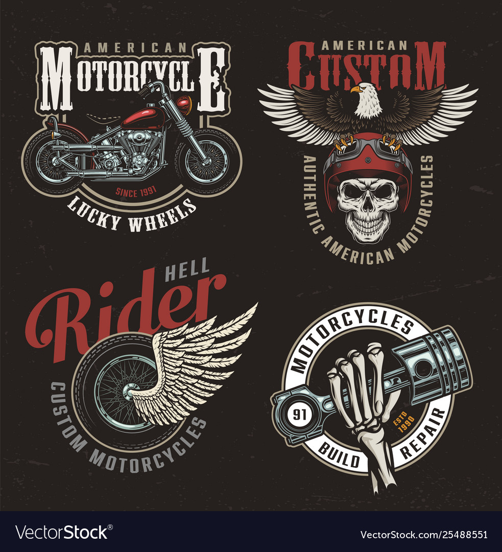 Vintage colorful motorcycle labels