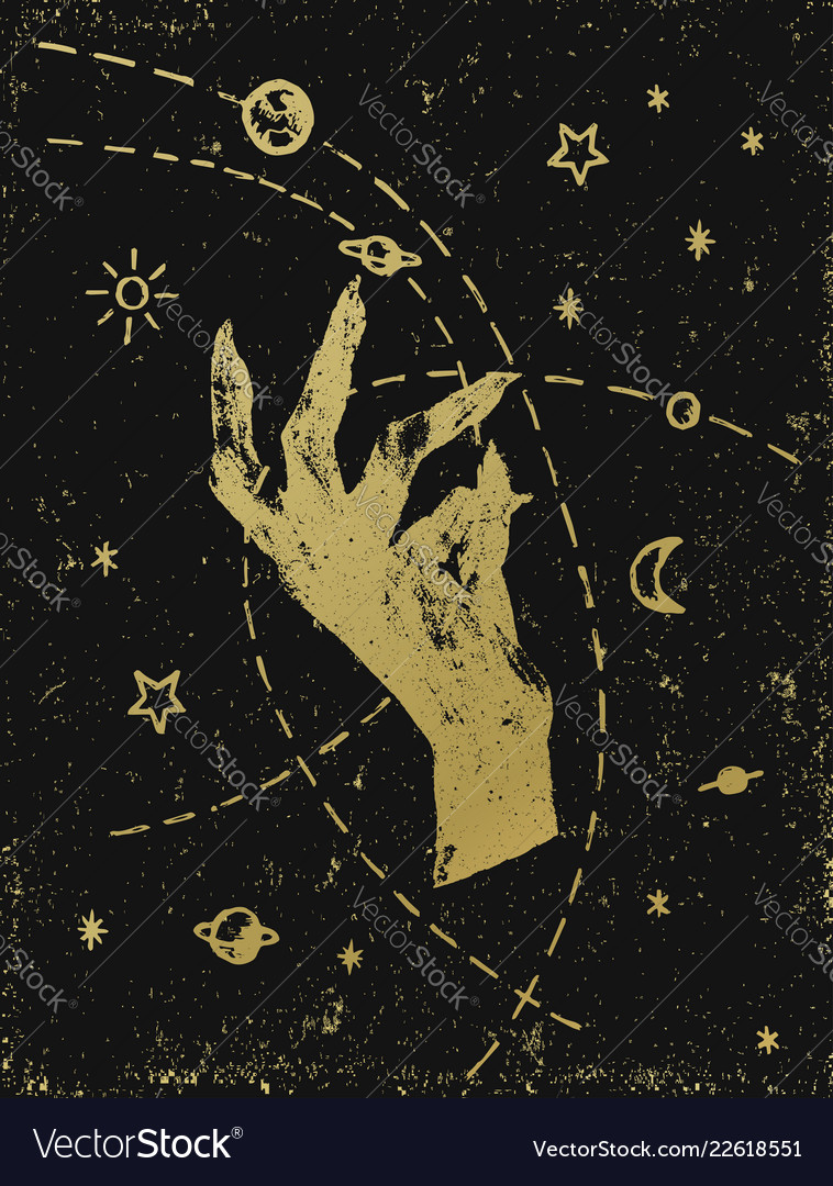Witchs hand with cosmos gold on black textured