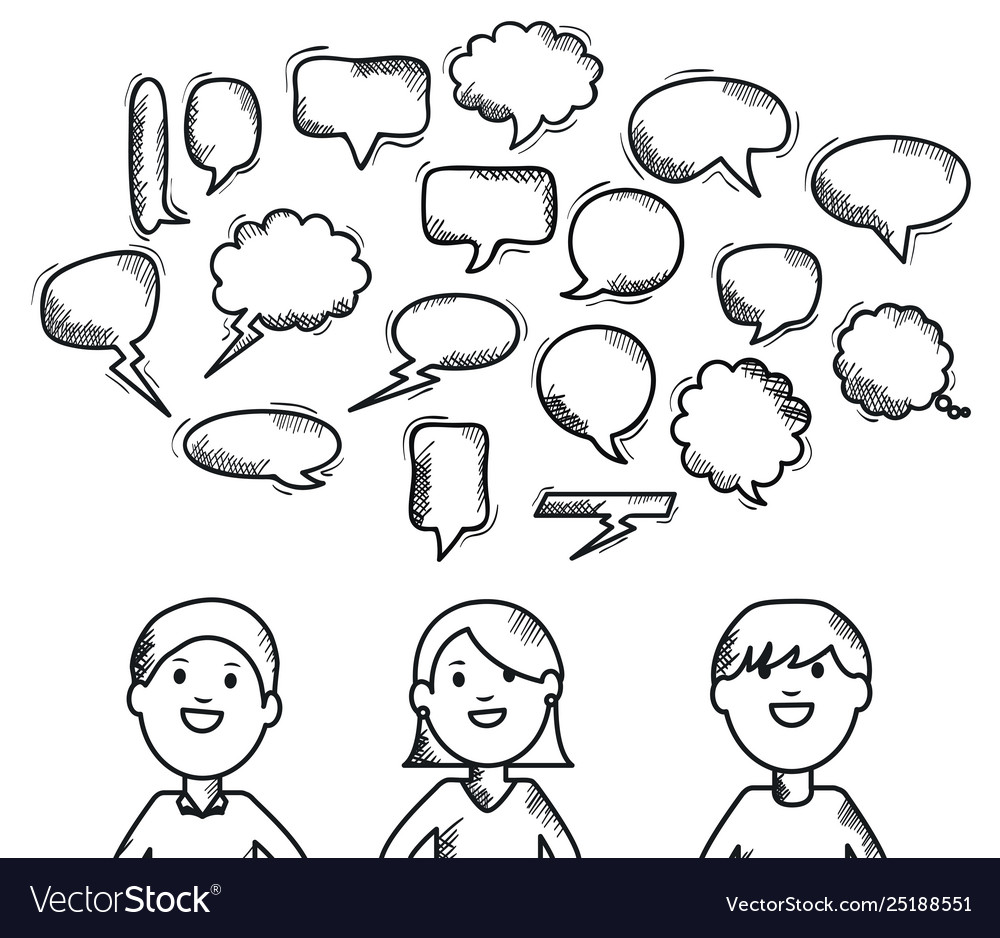 Young people with speech bubbles