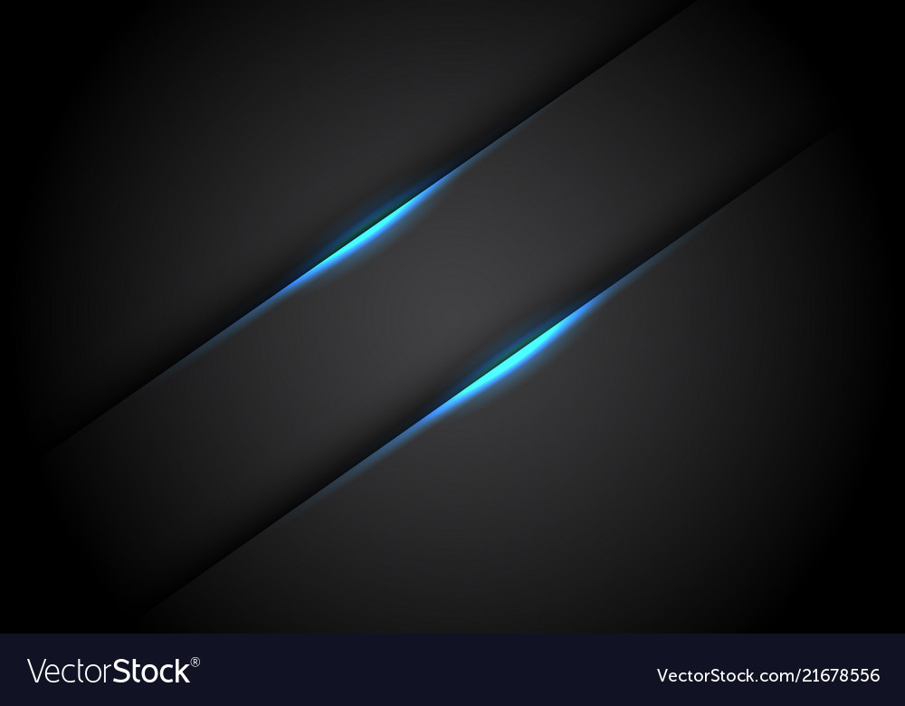 Abstract blue light line banner shadow on black