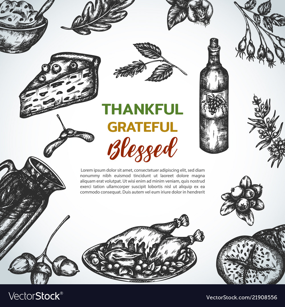 Background collection of hand drawn thanksgiving