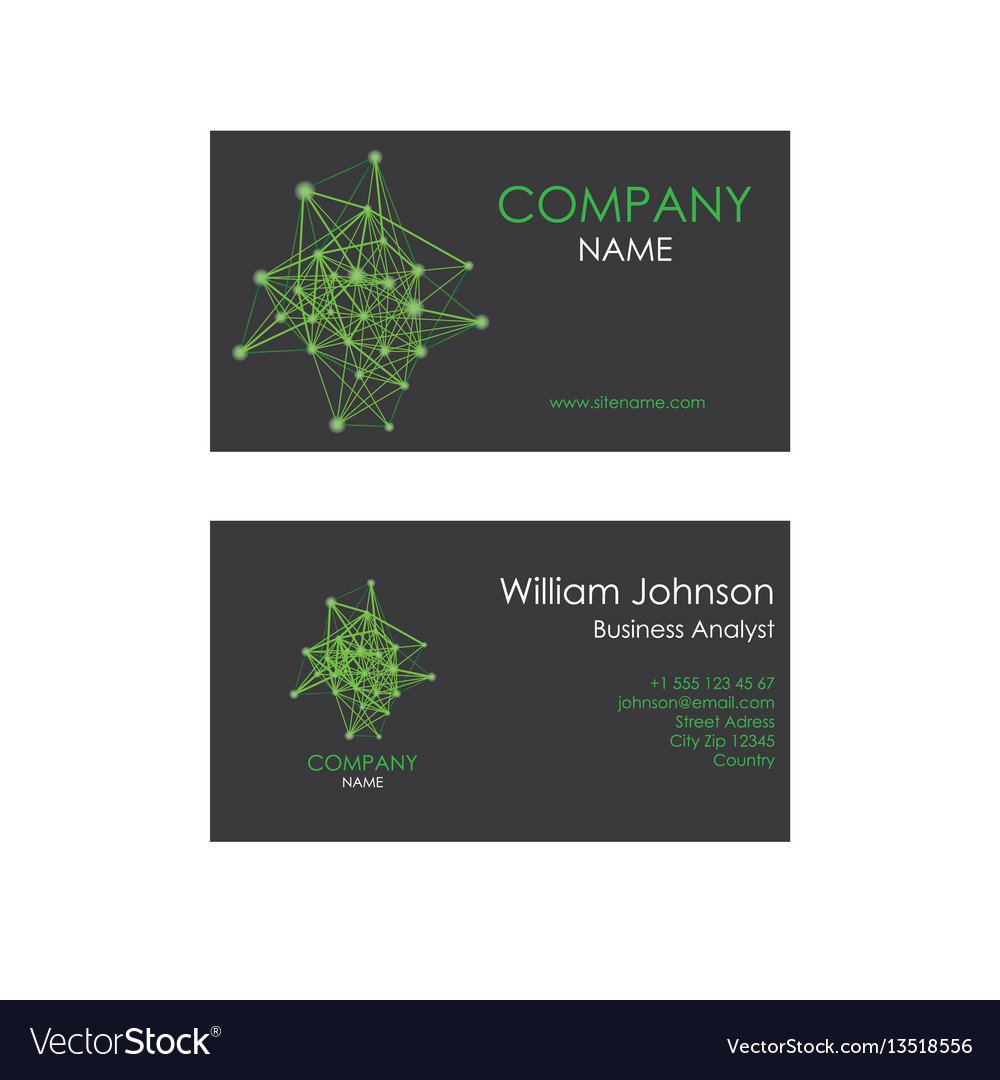 Business card with lines and dots vector image